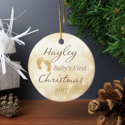 Personalised Neutral My 1st Christmas Round Ceramic Decoration.